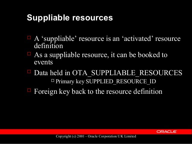 Copyright (c) 2001 - Oracle Corporation UK Limited Suppliable resources  Additional information can be held on a supplied...