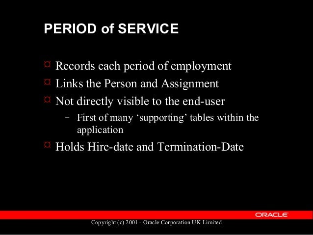 Copyright (c) 2001 - Oracle Corporation UK Limited PERIOD of SERVICE  Data is held in the table PER_PERIODS_OF_SERVICE  ...