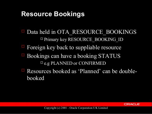 Copyright (c) 2001 - Oracle Corporation UK Limited Resource Bookings  A booking has additional information...  Quantity ...