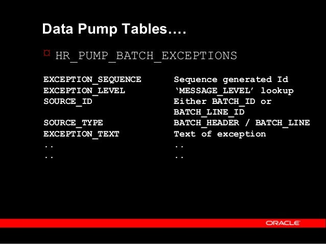 Copyright (c) 2001 - Oracle Corporation UK Lim Data Pump Utility PL/Sql Routines  Create batch header –HR_PUMP_UTILS.CREA...
