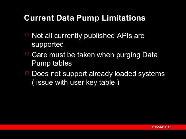Copyright (c) 2001 - Oracle Corporation UK Lim Data Pump Workshop  Load data from data_pump_emp_ld table – exec data_pump...