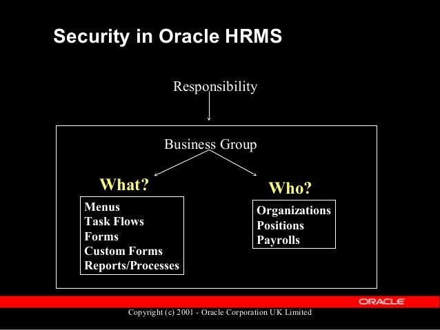 Copyright (c) 2001 - Oracle Corporation UK Limited Secured Tables  HR_ALL_ORGANIZATION_UNITS  PER_ALL_POSITIONS  HR_ALL...