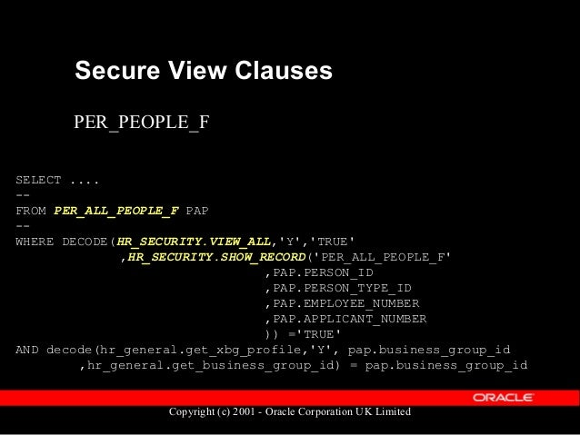 Copyright (c) 2001 - Oracle Corporation UK Limited Secure View Clauses SELECT .... -- FROM PER_PEOPLE_F -- WHERE TRUNC(SYS...