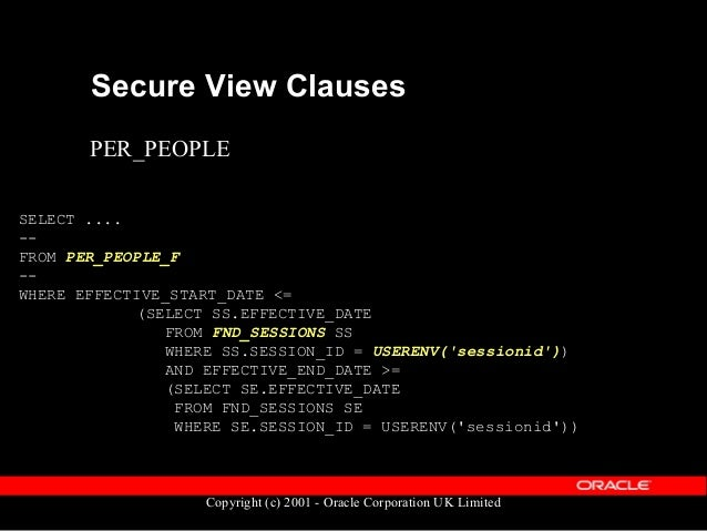 Copyright (c) 2001 - Oracle Corporation UK Limited Security Profiles  Restrict user access to a subset of people  Linked...