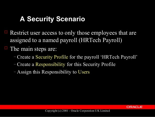 Copyright (c) 2001 - Oracle Corporation UK Limited Security Profiles Security Profile Responsibility Profile Option:- HR: ...