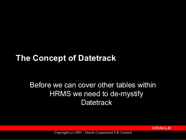 Copyright (c) 2001 - Oracle Corporation UK Limited Datetrack: What is it?  A way of recording changes over time  Preserv...