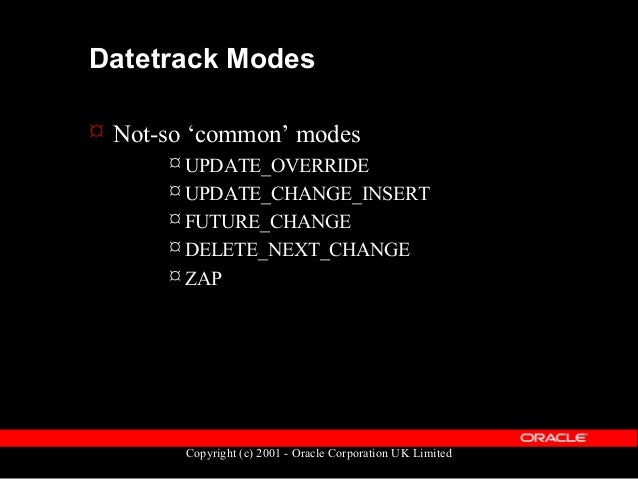 Copyright (c) 2001 - Oracle Corporation UK Limited Datetrack Modes  The following slides… – Give a pictorial representati...