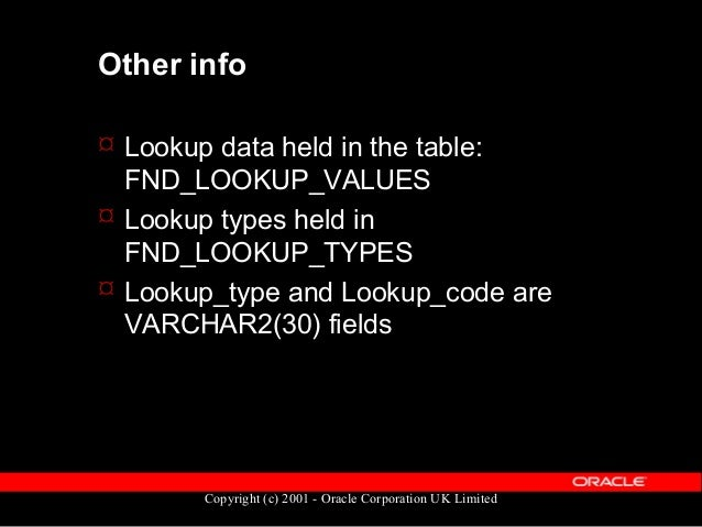 Copyright (c) 2001 - Oracle Corporation UK Limited How to spot a lookup column  Difficult, but not impossible  Best refe...