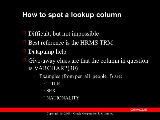 Copyright (c) 2001 - Oracle Corporation UK Limited Coding for Lookups SELECT hrl.meaning, ppf.last_name FROM hr_lookups hr...