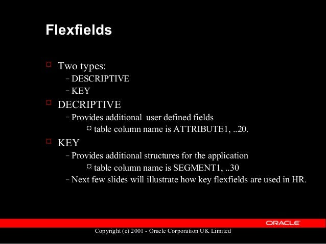 Flexfields - Key  User-definable structures to represent business data  Configurable at implementation time  Up to 30 s...