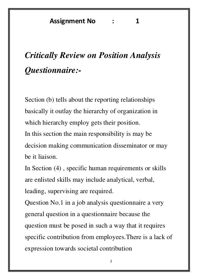 Job Description Questionnaire Sample Critically Review On And Position Analysis Questionna
