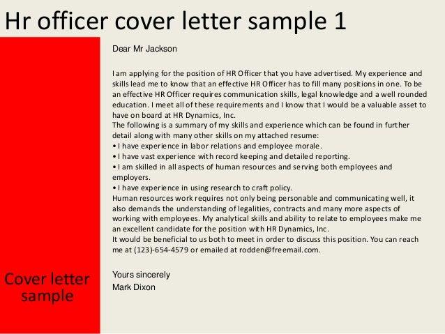 hr sample cover letter