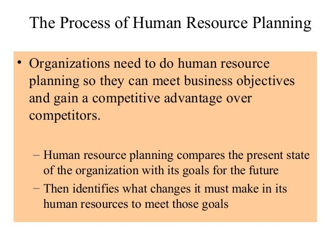 The Process of Human Resource Planning• Organizations need to do human resource  planning so they can meet business object...
