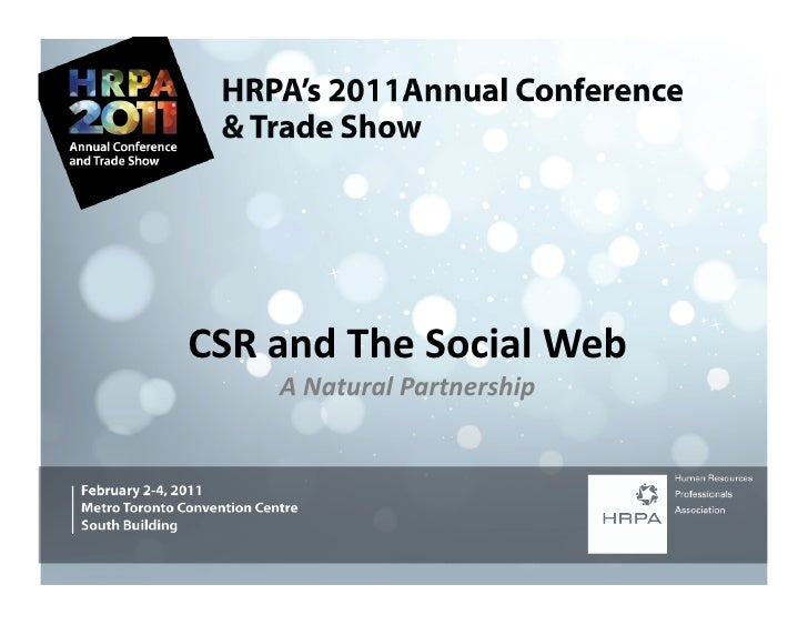 CSR and The Social Web         A Natural Partnership