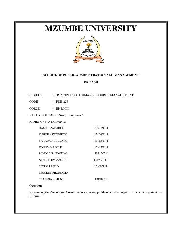 MZUMBE UNIVERSITY           SCHOOL OF PUBLIC ADMINISTRATION AND MANAGEMENT                                       (SOPAM)SU...