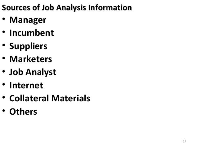 sources of job analysis information Job analysis involves it involves obtaining objective and verifiable information about the actual requirements of a job sources of data information.