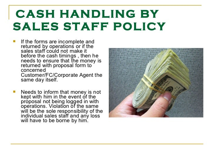 cash handling by sales staff policy