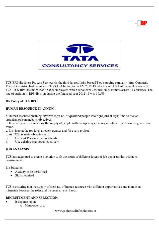 project on employee retention policies in tcs Lack of proper employee retention policies project— the project you will be working what benefit do employees of tata consultancy services get with respect.