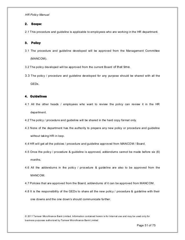 Human Resource Policy 2011-12