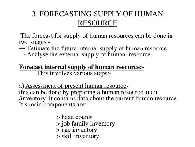 3. FORECASTING SUPPLY OF HUMAN                RESOURCE The forecast for supply of human resources can be done intwo stages...