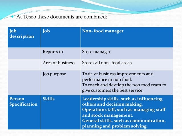 tesco job description