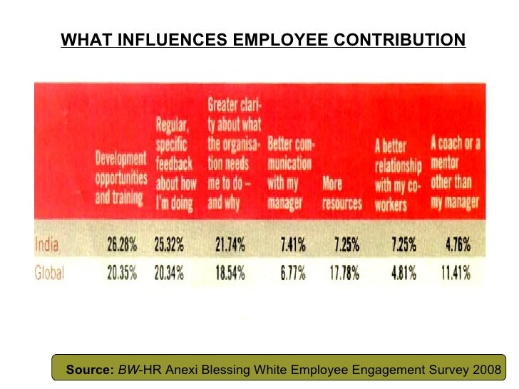 WHAT INFLUENCES EMPLOYEE CONTRIBUTION Source:   BW -HR Anexi Blessing White Employee Engagement Survey 2008