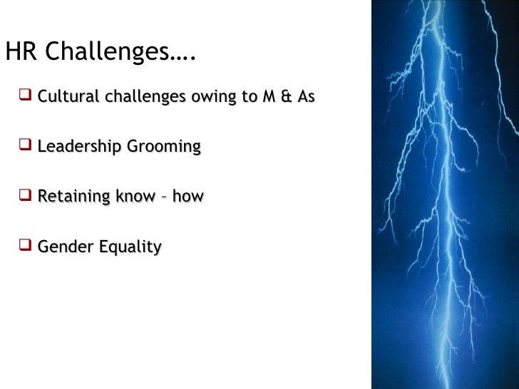 <ul><li>Cultural challenges owing to M & As </li></ul><ul><li>Leadership Grooming </li></ul><ul><li>Retaining know – how <...
