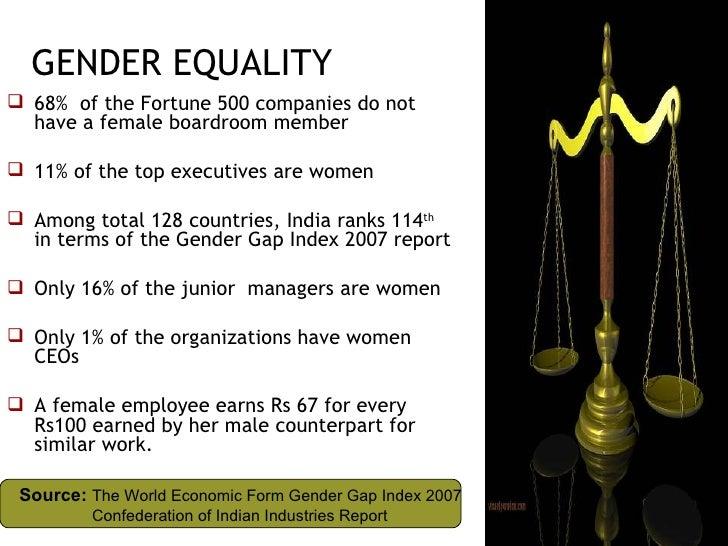 GENDER EQUALITY <ul><li>68%  of the Fortune 500 companies do not have a female boardroom member </li></ul><ul><li>11% of t...