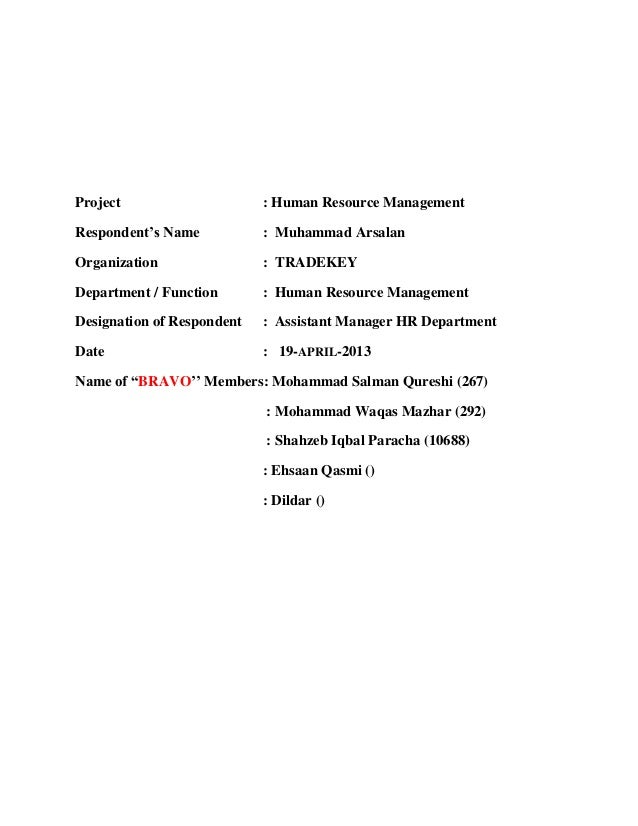 Tradekey HR By SalmanHanzala complete project and report