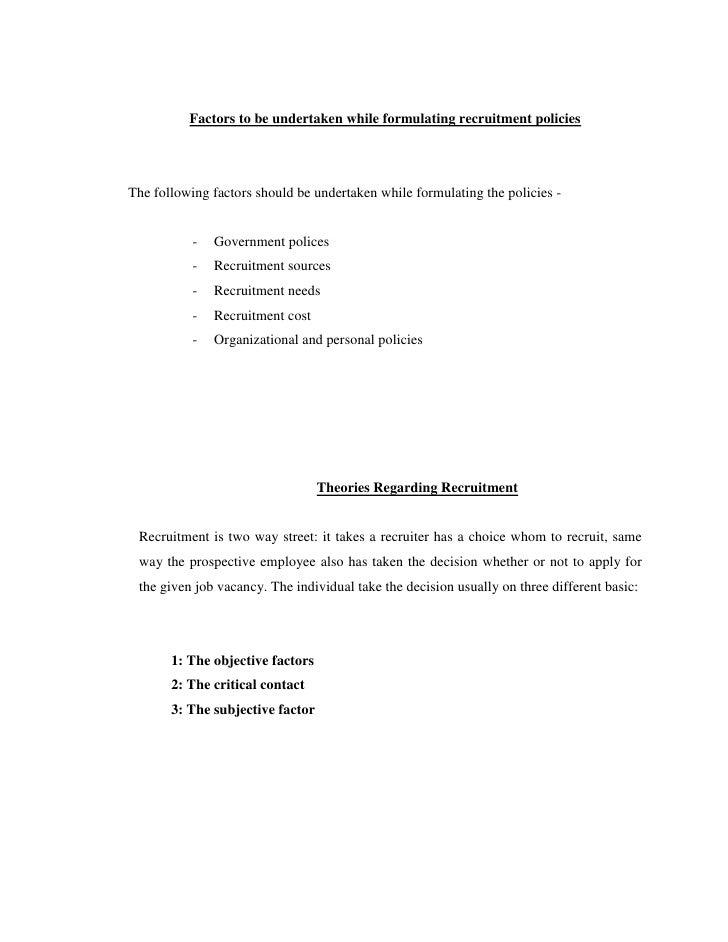 Factors Influencing Recruitment Process