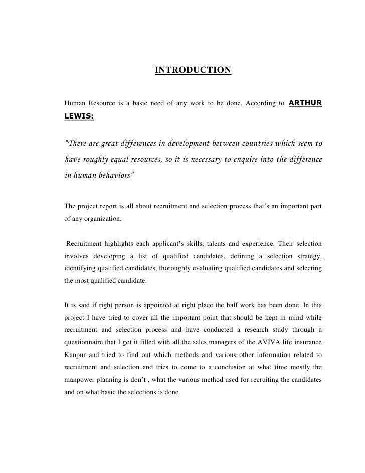 "recruitment and selection at aviva life A project report on ""recruitment and selection of  study of  recruitment & selection process in aviva life insurance by saumya mehta."