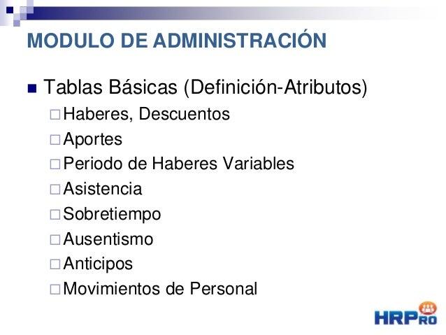  Tablas Básicas (Definición-Atributos) Haberes, Descuentos Aportes Periodo de Haberes Variables Asistencia Sobretiem...