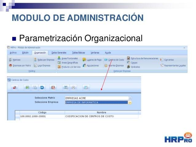  Parametrización Organizacional MODULO DE ADMINISTRACIÓN