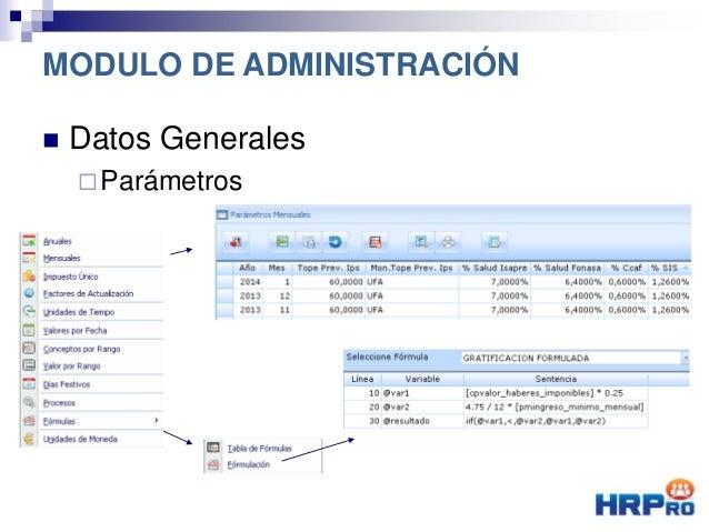  Datos Generales Parámetros MODULO DE ADMINISTRACIÓN
