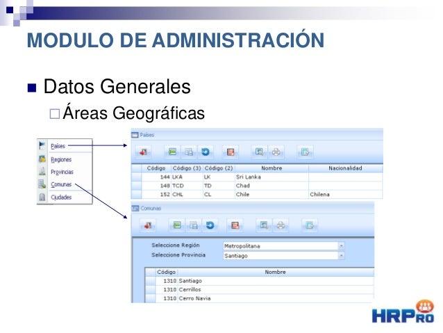  Datos Generales Áreas Geográficas MODULO DE ADMINISTRACIÓN