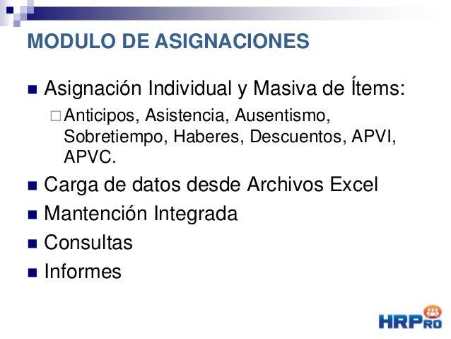  Asignación Individual y Masiva de Ítems: Anticipos, Asistencia, Ausentismo, Sobretiempo, Haberes, Descuentos, APVI, APV...