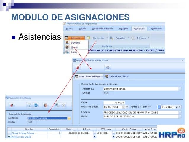  Asistencias MODULO DE ASIGNACIONES