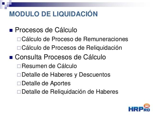 Procesos de Cálculo Cálculo de Proceso de Remuneraciones Cálculo de Procesos de Reliquidación  Consulta Procesos de C...