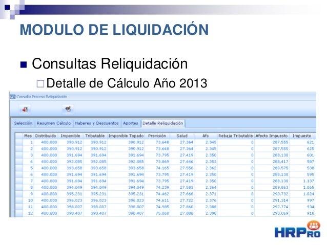  Consultas Reliquidación Detalle de Cálculo Año 2013 MODULO DE LIQUIDACIÓN