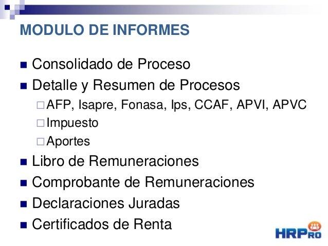  Consolidado de Proceso  Detalle y Resumen de Procesos AFP, Isapre, Fonasa, Ips, CCAF, APVI, APVC Impuesto Aportes  ...