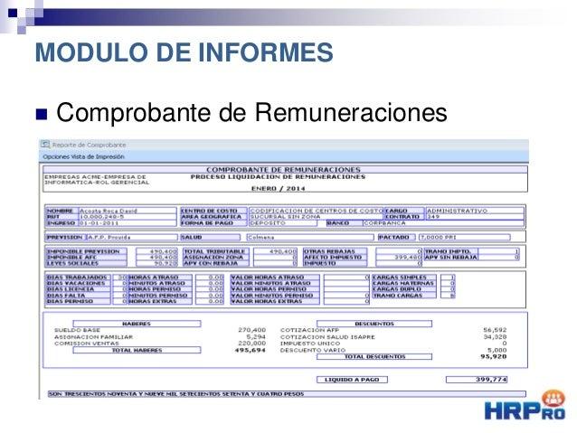  Comprobante de Remuneraciones MODULO DE INFORMES