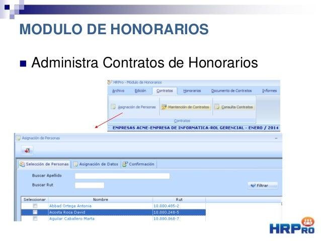  Administra Contratos de Honorarios MODULO DE HONORARIOS