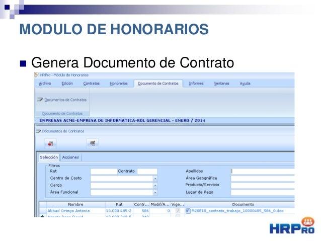  Genera Documento de Contrato MODULO DE HONORARIOS