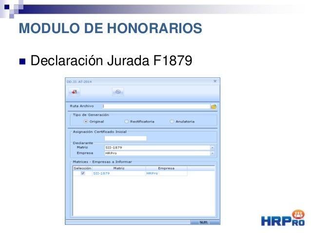  Declaración Jurada F1879 MODULO DE HONORARIOS