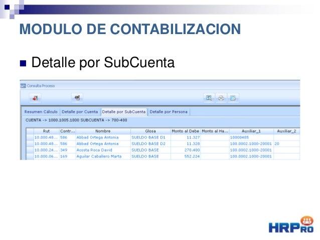  Detalle por SubCuenta MODULO DE CONTABILIZACION