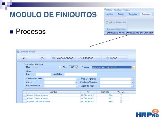  Procesos MODULO DE FINIQUITOS