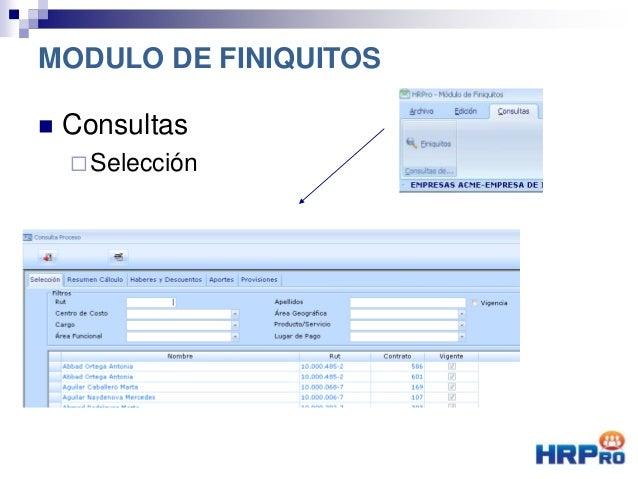  Consultas Selección MODULO DE FINIQUITOS