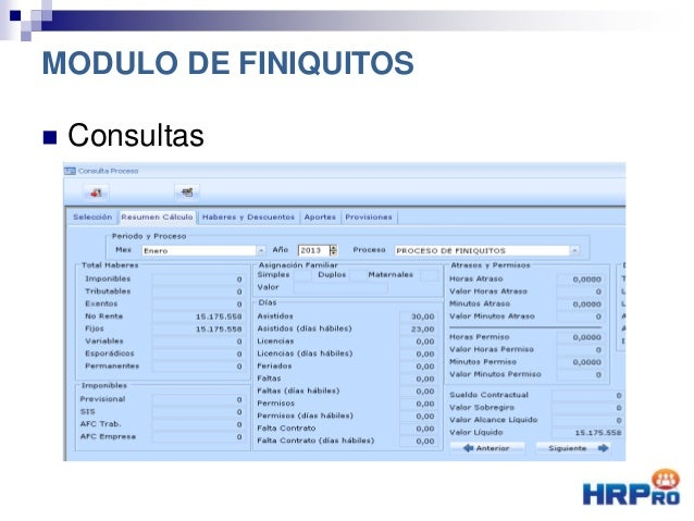  Consultas Resumen Cálculo MODULO DE FINIQUITOS