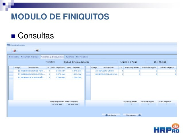  Consultas Haberes y Descuentos MODULO DE FINIQUITOS