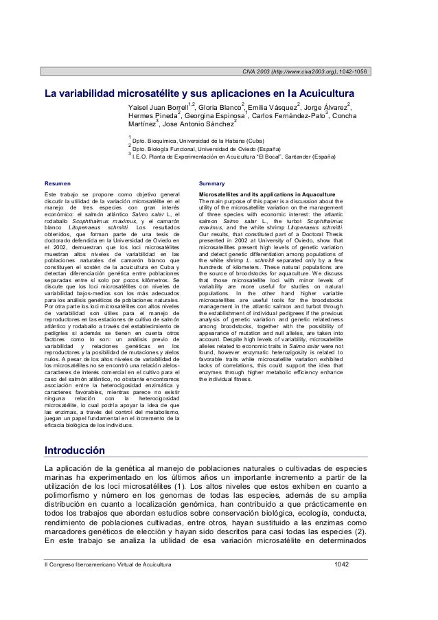 CIVA 2003 (http://www.civa2003.org), 1042-1056La variabilidad microsatélite y sus aplicaciones en la Acuicultura          ...